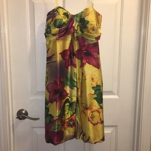 NWT strapless satin Cache dress